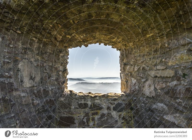 Castle window with view of fog fields at Lake Constance (wide angle) Design Vacation & Travel Architecture Nature Landscape Sky Fog Ruin Wall (barrier)