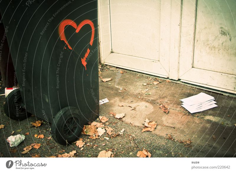 Loneliness Leaf Graffiti Love Autumn Door Signs and labeling Heart Ground Paper Grief Asphalt Trust Trash End
