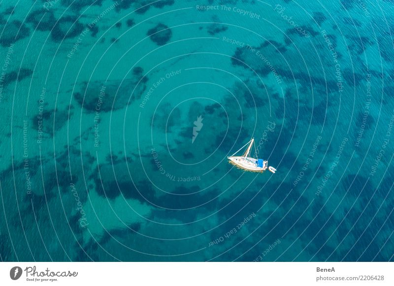 Sailing ship anchors in turquoise blue water in the sea from above Lifestyle Luxury Elegant Style Exotic Joy Relaxation Swimming & Bathing Vacation & Travel
