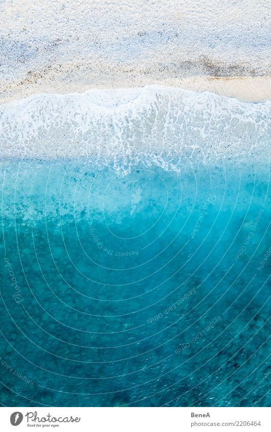 Turquoise blue sea and waves on a white beach from above Harmonious Senses Relaxation Swimming & Bathing Vacation & Travel Tourism Trip Adventure Far-off places