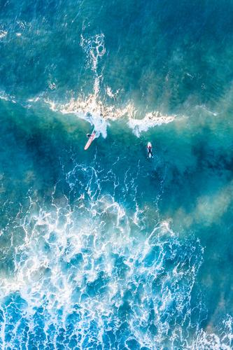 Surfers ride waves in the turquoise blue sea Exotic Joy Relaxation Swimming & Bathing Leisure and hobbies Vacation & Travel Tourism Trip Adventure