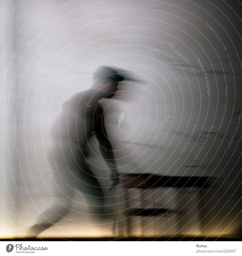 sphere transducers Masculine Man Adults 1 Human being Art Stage Actor Dance Dancer Cap Going Dream Dark Authentic Life Studio shot Artificial light Motion blur