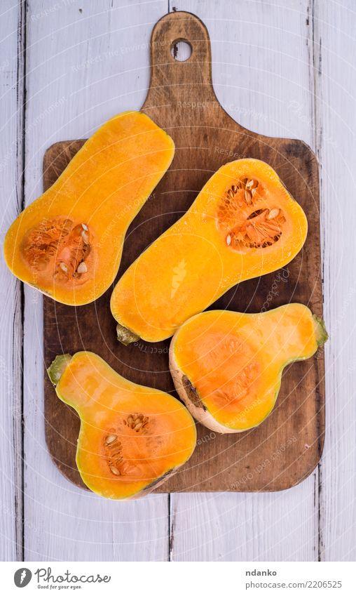 half fresh pumpkin Nature White Eating Yellow Autumn Wood Above Fresh Table Vegetable Seasons Harvest Tradition Dinner Meal Vegetarian diet