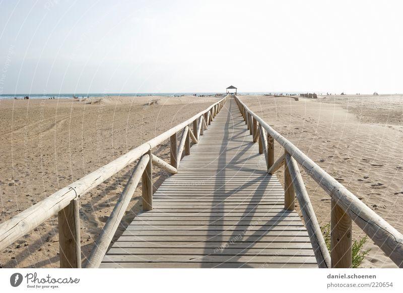 Ocean Summer Beach Vacation & Travel Lanes & trails Sand Bright Coast Horizon Tourism Footbridge Spain Beautiful weather Handrail Promenade Summer vacation