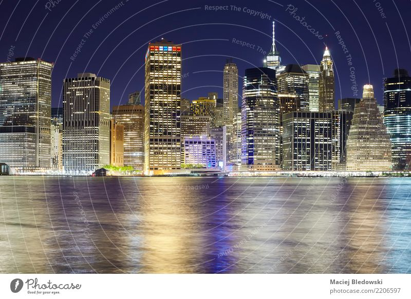 New York City skyline at night. Office River Town Downtown Skyline High-rise Building Architecture Tourist Attraction Landmark Monument Success Society