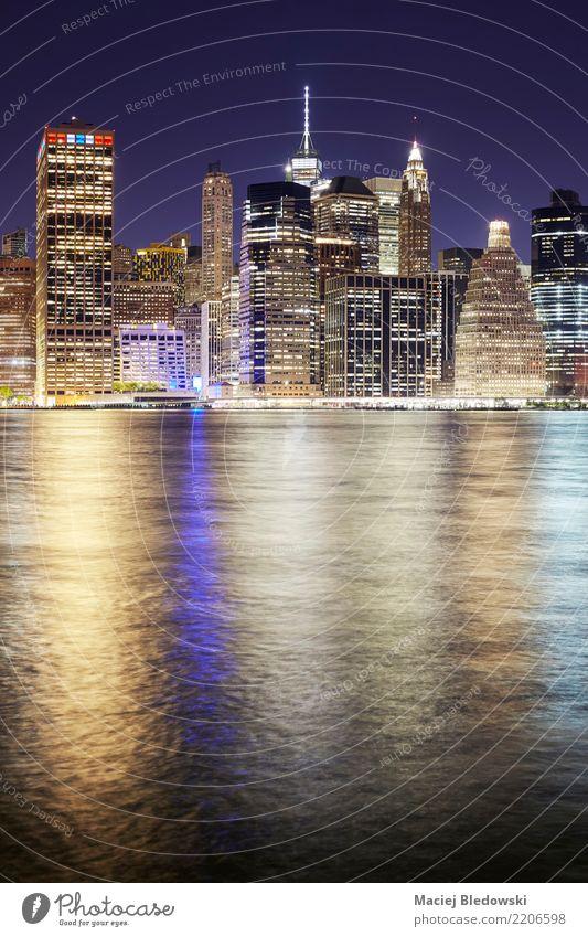 Manhattan skyline at night. River Town Skyline High-rise Building Architecture Tourist Attraction Landmark Monument Business Design Success Financial Industry