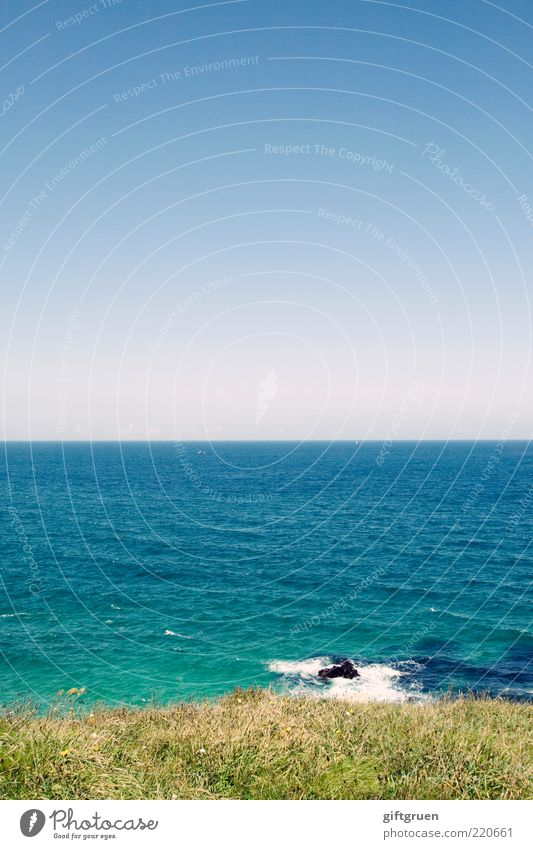 Nature Water Sky Ocean Blue Plant Summer Beach Far-off places Meadow Grass Stone Landscape Coast Waves Environment