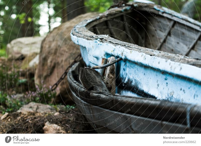 Sitting on dry land Summer Fishing boat Rowboat Wood Old End Stagnating Moody Decline Transience Colour photo Subdued colour Exterior shot Deserted