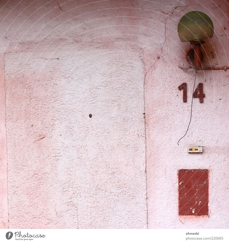 Old Red House (Residential Structure) Lamp Wall (building) Wall (barrier) Building Pink Facade Cable Broken Digits and numbers Lantern Decline Trashy Bell