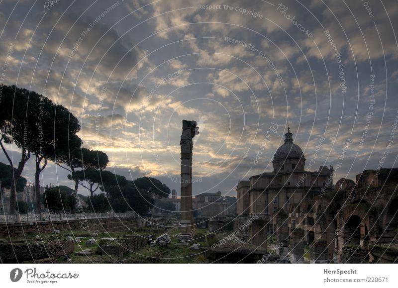 Forum Romanum at dawn Sky Clouds Beautiful weather Rome Capital city Church Tourist Attraction Landmark Monument Forum Romano Old Esthetic Blue Gray Ruin