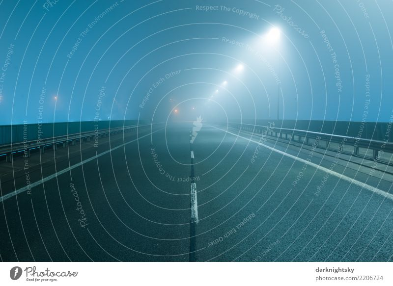 Empty road at night and in the fog Logistics Landscape Weather Fog Town Deserted Bridge Street lighting Transport Road traffic Overpass Concrete Steel