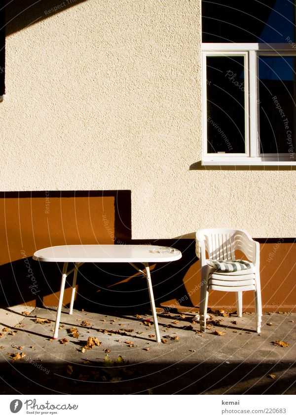 White Calm Leaf House (Residential Structure) Autumn Wall (building) Window Wall (barrier) Landscape Brown Facade Table Empty Chair End Living or residing