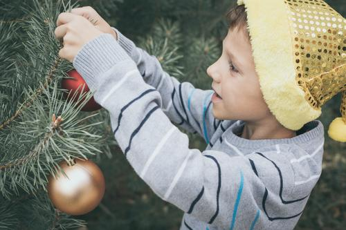 Happy young little boy decorating Christmas tree Lifestyle Joy Beautiful Face Playing Winter Decoration Feasts & Celebrations Christmas & Advent Child