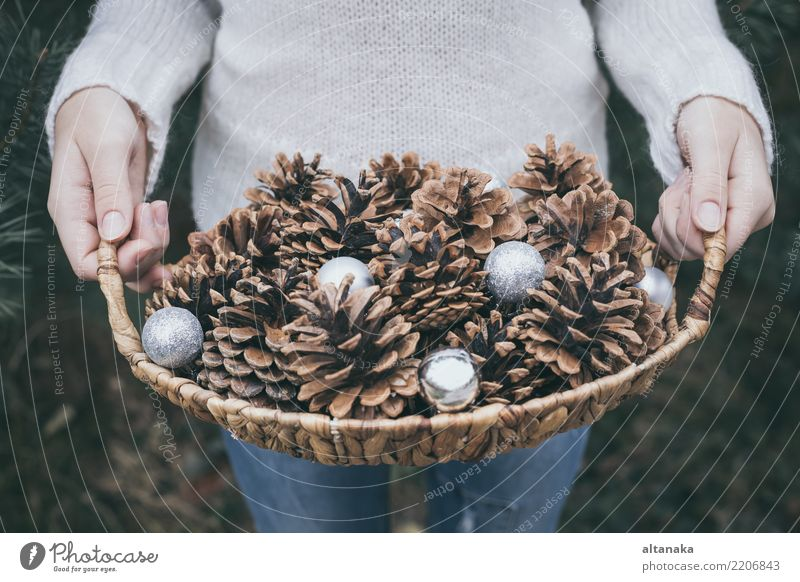 Fir cones in the hands of teenager. Lifestyle Design Winter Decoration Feasts & Celebrations Christmas & Advent New Year's Eve Human being Woman Adults Hand