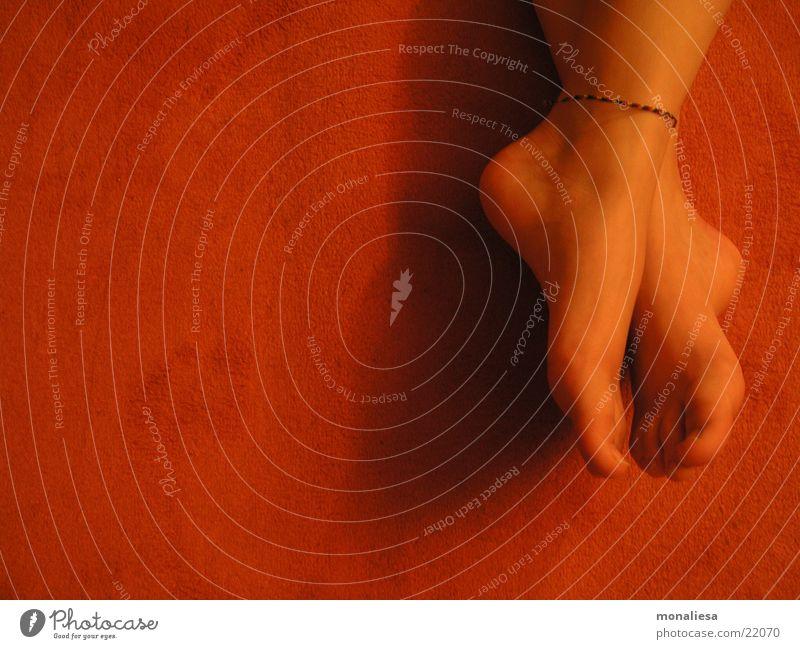 Woman Feminine Feet Orange Lie Carpet Barefoot Toes Pedicure Tip of the toe Women`s feet Ankle chain