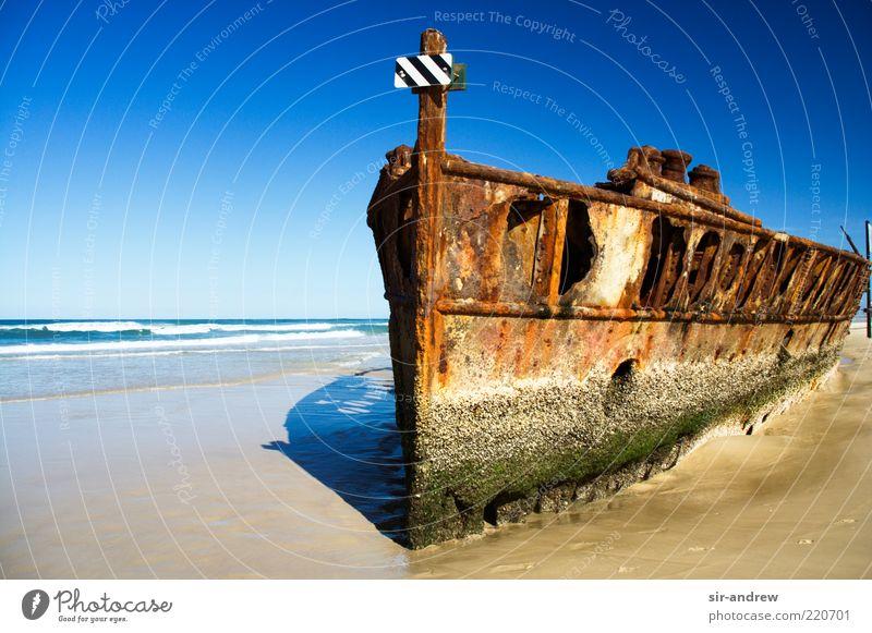 Old Ocean Beach Coast Island Broken Australia Transience Derelict Decline Rust Navigation Beautiful weather Watercraft Remainder Blue sky