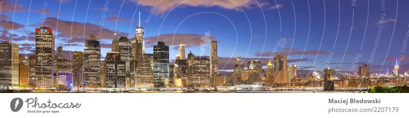 New York City skyline at night. Workplace Office Town Skyline High-rise Bank building Bridge Tower Building Architecture Colour Vacation & Travel