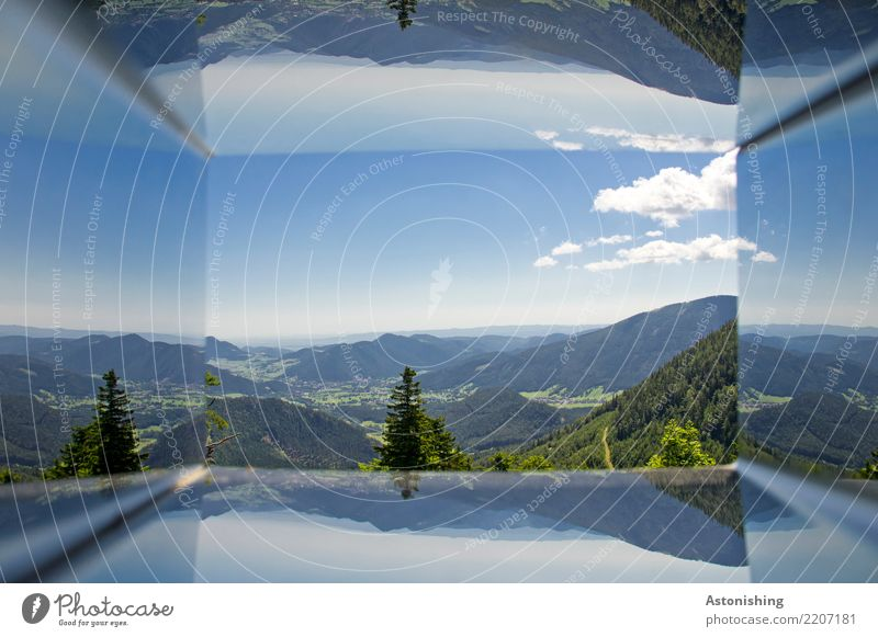 inverted world Sports Environment Nature Landscape Plant Air Sky Clouds Horizon Summer Weather Beautiful weather Tree Grass Hill Alps Mountain Peak Austria
