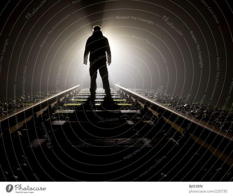 Man White Black Dark Emotions Death Dream Adults Railroad Stand Threat End Railroad tracks Creepy Human being Distress