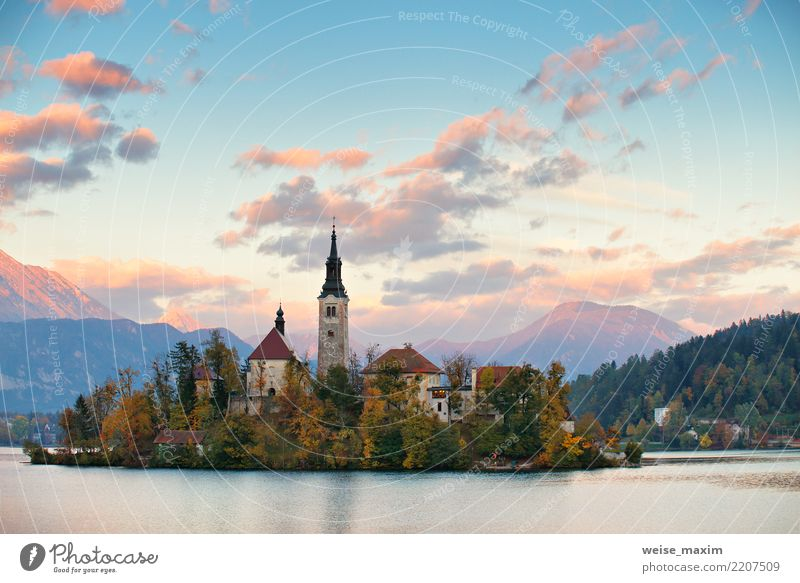 Church And Castle With Mountain Range, Bled lake Sky Nature Vacation & Travel Blue Summer Town Green Landscape Tree House (Residential Structure) Forest Autumn