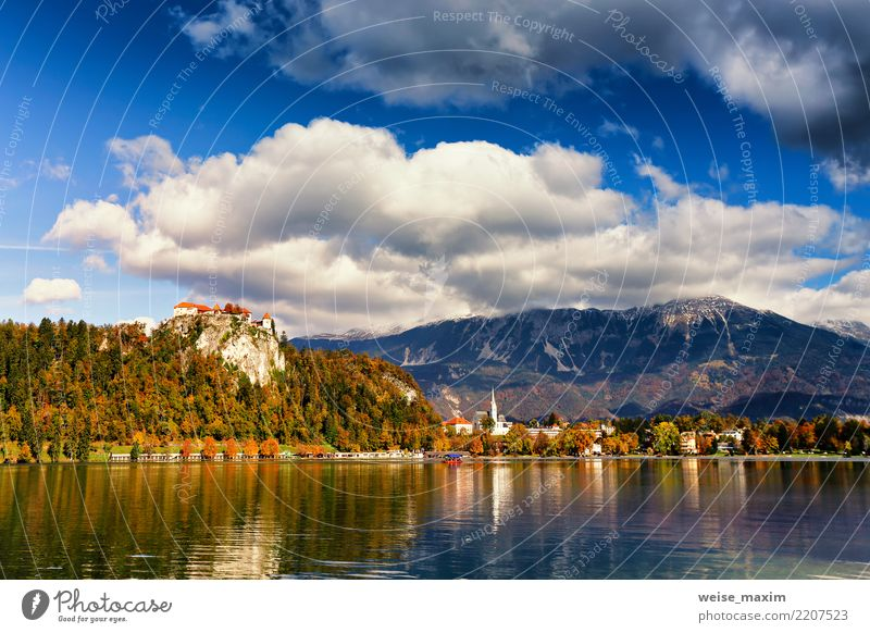Colorful autumn day on Bled lake, Slovenia Sky Nature Vacation & Travel Blue Summer Green Tree Landscape House (Residential Structure) Far-off places Forest