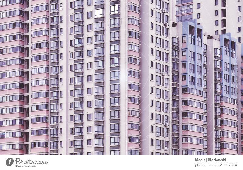 Windows Flat (apartment) House (Residential Structure) Town Building Architecture Wall (barrier) Wall (building) Facade Retro Violet Pink Sadness Lovesickness