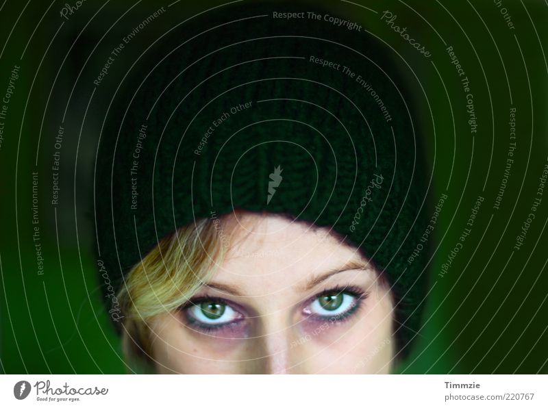 green is the new whatever Style Beautiful Cosmetics Mascara Rouge Young woman Youth (Young adults) Eyes 1 Human being 18 - 30 years Adults Cap Looking Feminine