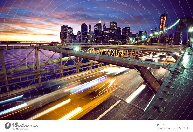 Beautiful Old Sky City Blue New York City Clouds Yellow Street Work and employment Coast Architecture Road traffic High-rise Transport Bridge