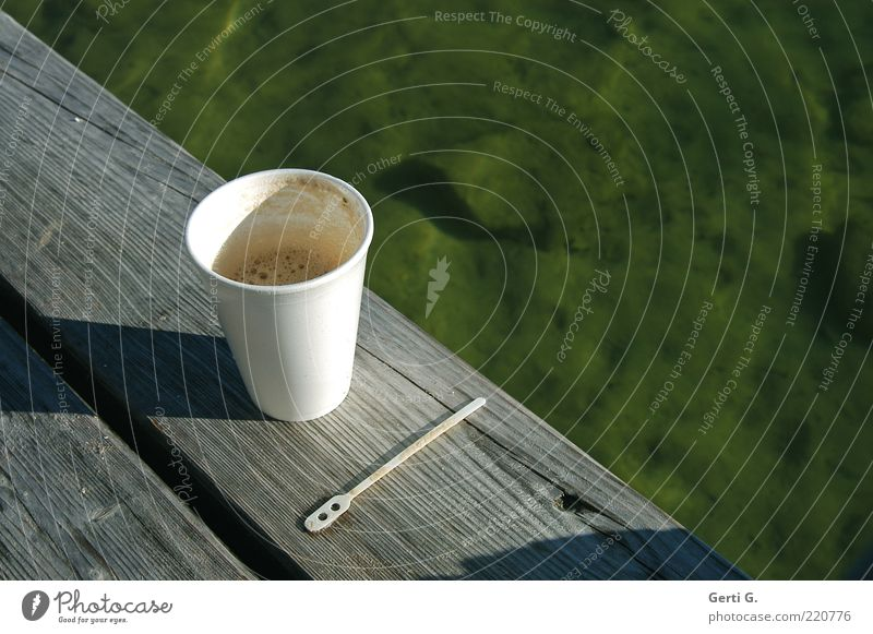 CoffeeToGo To have a coffee Beverage Hot drink Mug Spoon Relaxation Calm Water Wood Contentment Lake Footbridge Break Morning break Green Considerable