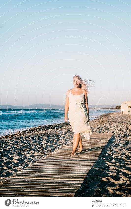 Nature Vacation & Travel Youth (Young adults) Young woman Summer Beautiful Landscape Sun Ocean Relaxation Calm Beach 18 - 30 years Adults Lifestyle Feminine