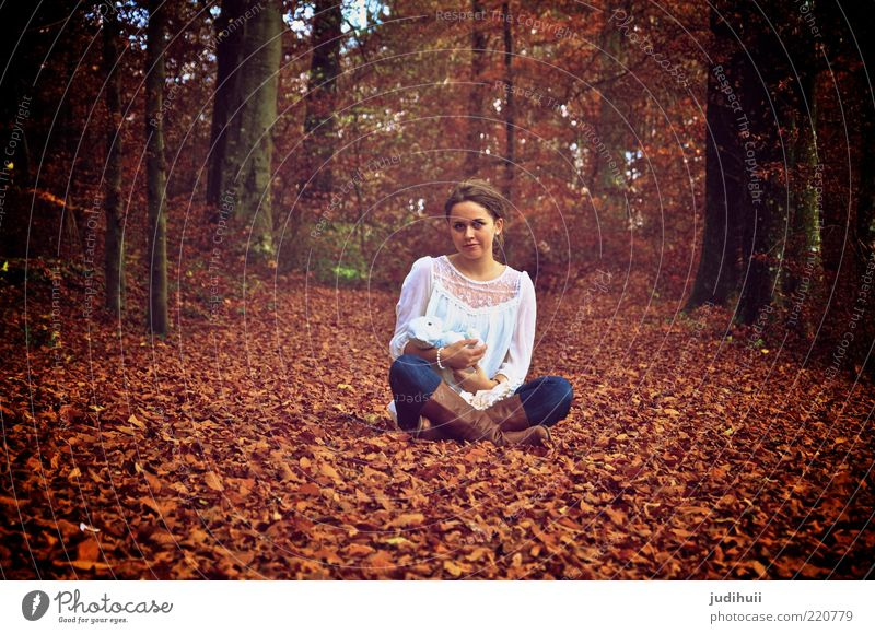 Stay Young at Heart Playing Feminine Young woman Youth (Young adults) Infancy 1 Human being 18 - 30 years Adults Nature Autumn Tree Leaf Forest Woodground