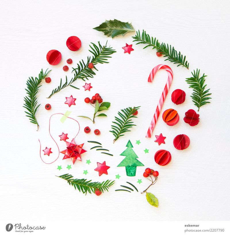round Christmas Candy cane Decoration Feasts & Celebrations Christmas & Advent Glitter Ball Star (Symbol) Plant Tree Leaf Berries Christmas tree Fir branch