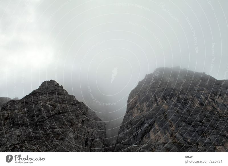 Summer Calm Clouds Dark Autumn Mountain Gray Rock Alps Eerie Haze Steep Bad weather Shroud of fog Wall of rock Wall of fog