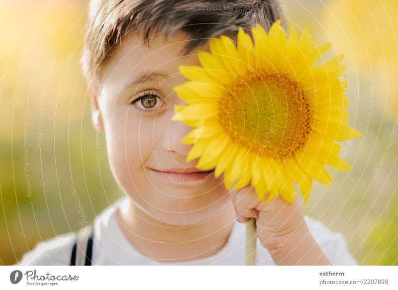 boy playing in sunflower field Child Human being Nature Vacation & Travel Plant Summer Sun Joy Lifestyle Blossom Spring Laughter Happy Freedom Masculine Park