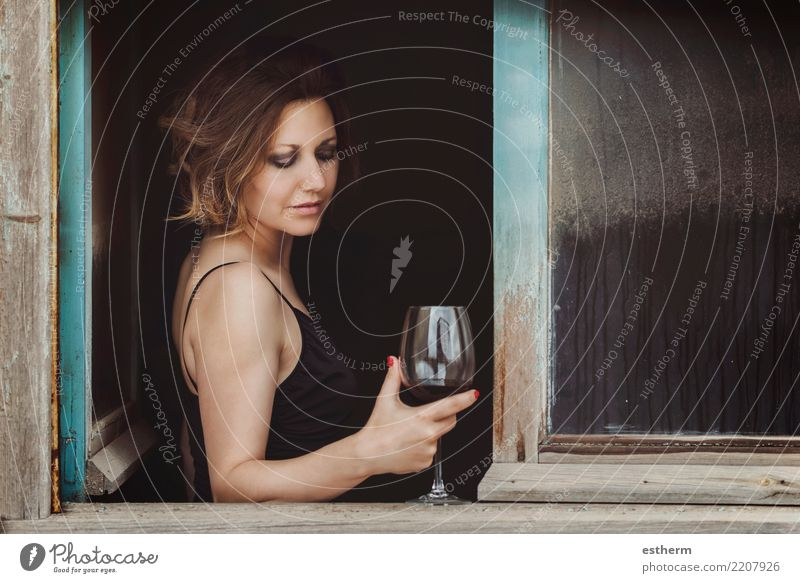 pretty woman with a glass of wine Woman Human being Youth (Young adults) Young woman Beautiful Loneliness Adults Lifestyle Sadness Emotions Feminine Happy