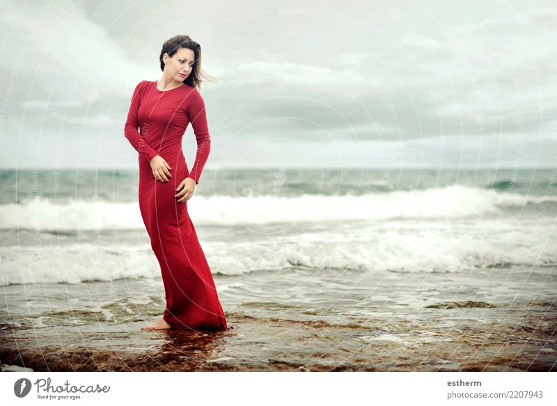 pensive woman on the beach Woman Human being Vacation & Travel Youth (Young adults) Young woman Beautiful Water Relaxation Beach Adults Environment Lifestyle