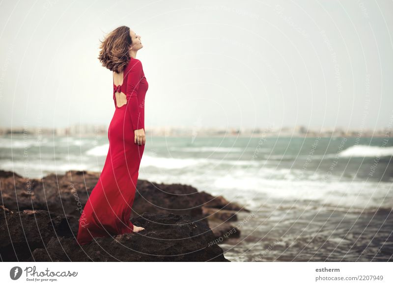 pensive woman on the beach Lifestyle Elegant Style Beautiful Vacation & Travel Trip Adventure Freedom Human being Feminine Young woman Youth (Young adults)