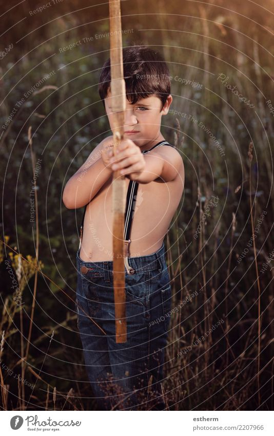 archer boy Lifestyle Playing Hunting Vacation & Travel Adventure Freedom Human being Masculine Child Toddler Infancy 1 3 - 8 years Movement Fitness Threat
