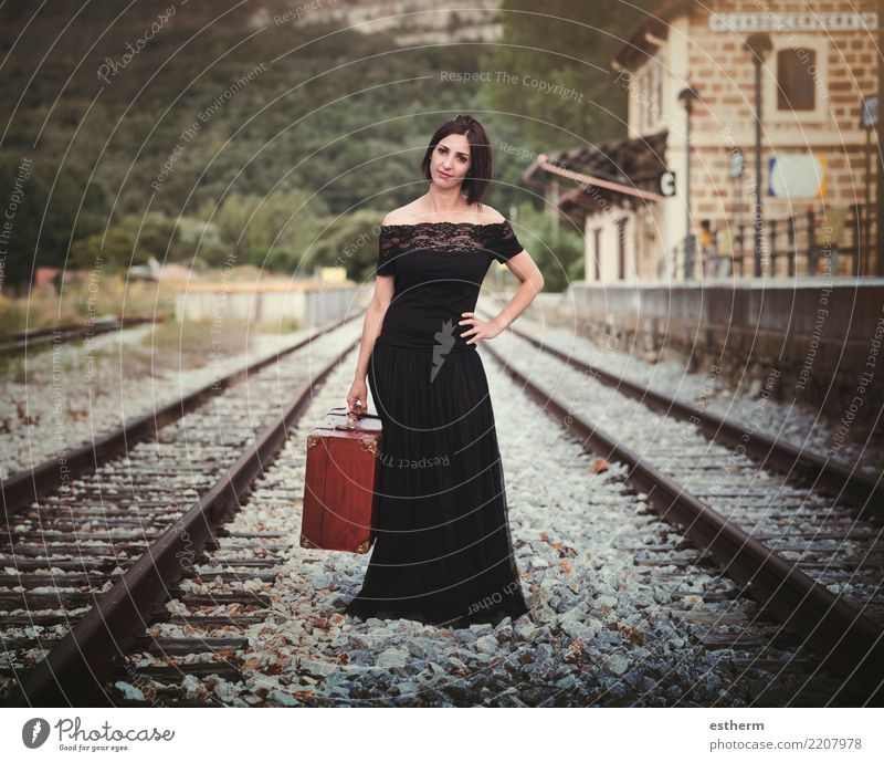 Young woman on train tracks Woman Human being Vacation & Travel Youth (Young adults) Beautiful Loneliness Joy Adults Lifestyle Emotions Feminine Tourism Freedom