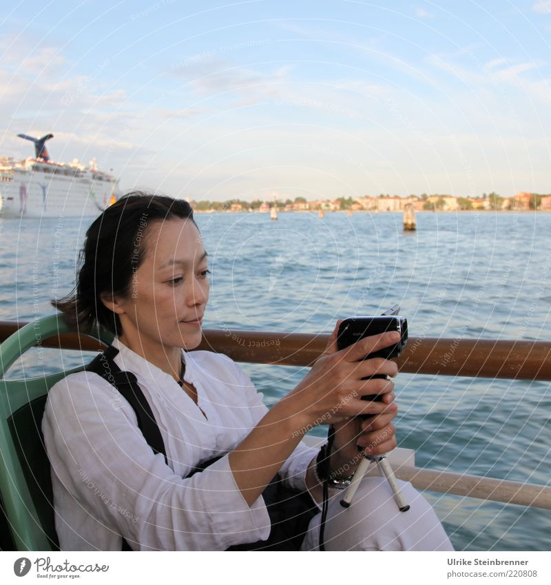 Viewing Venice 1 Joy Vacation & Travel Tourism Trip Sightseeing City trip Video camera Human being Feminine Woman Adults Media Water Coast Bay Woman from Japan