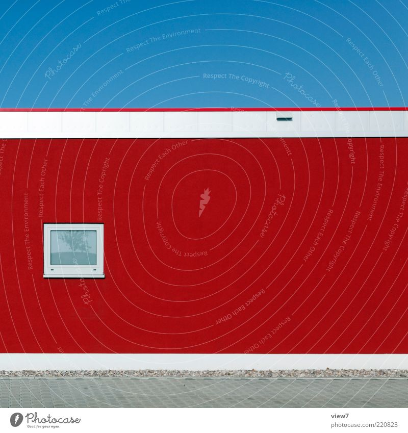 red house Sky Cloudless sky Building Wall (barrier) Wall (building) Facade Window Stone Concrete Glass Line Stripe Esthetic Authentic Simple Elegant Fresh