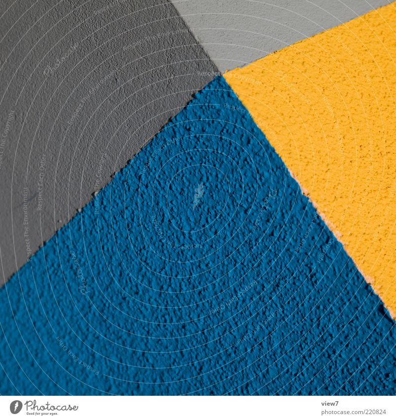 Beautiful Blue Yellow Colour Wall (building) Gray Stone Wall (barrier) Line Design Elegant Concrete Facade Fresh Perspective Modern
