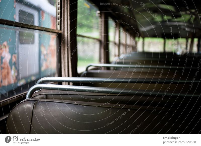 Old Brown Metal Glass Railroad Sit Retro Decline Trashy Past Mobility Leather Nostalgia Row of seats Passenger traffic Tram