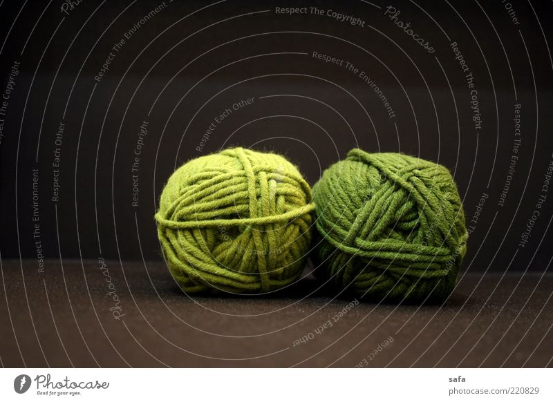 Green woolen Textiles Textile industry Simple Original Round Soft Brown Quality Wool Wooly In pairs Dark background Colour photo Interior shot Studio shot