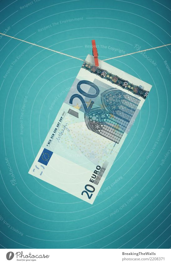 Twenty Euro currency banknote hanging over blue Blue Colour Dark Business Retro Europe Threat Rope Money Decline Turquoise Economy Hang Trade Bank note 20