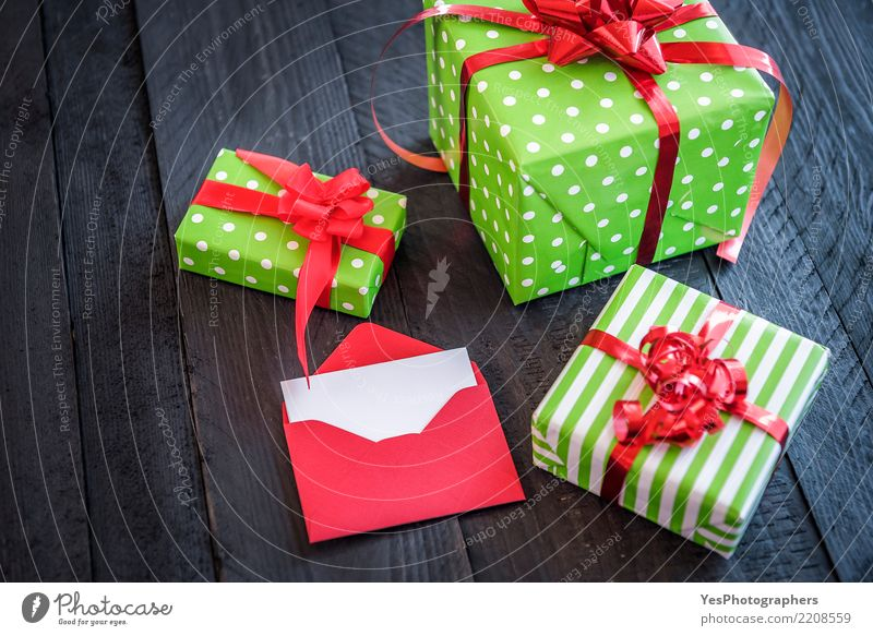Cheerful wrapped presents and opened letter Elegant Happy Handcrafts Feasts & Celebrations New Year's Eve Birthday Package Cute Surprise above view Atmosphere