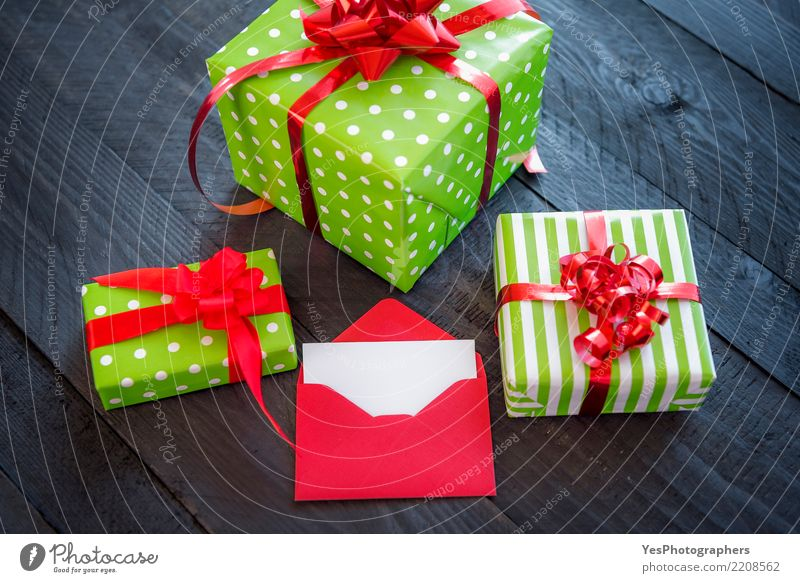 Gift boxes with red ribbon Happy Feasts & Celebrations Copy Space Elegant Birthday Cute Surprise New Year's Eve Wooden table Handcrafts Atmosphere Festive