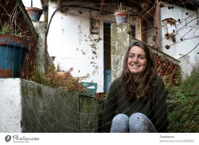 flowerpots Feminine Young woman Youth (Young adults) 1 Human being Summer bushes Village House (Residential Structure) Detached house Manmade structures Ruin
