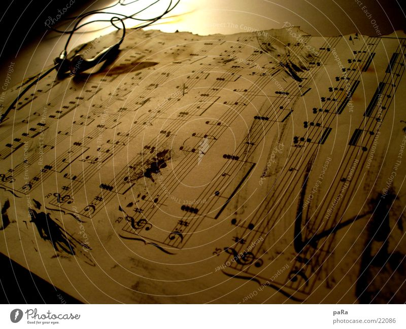 sheet of music Sheet music Headphones Paper Macro (Extreme close-up) Close-up Musical notes Old