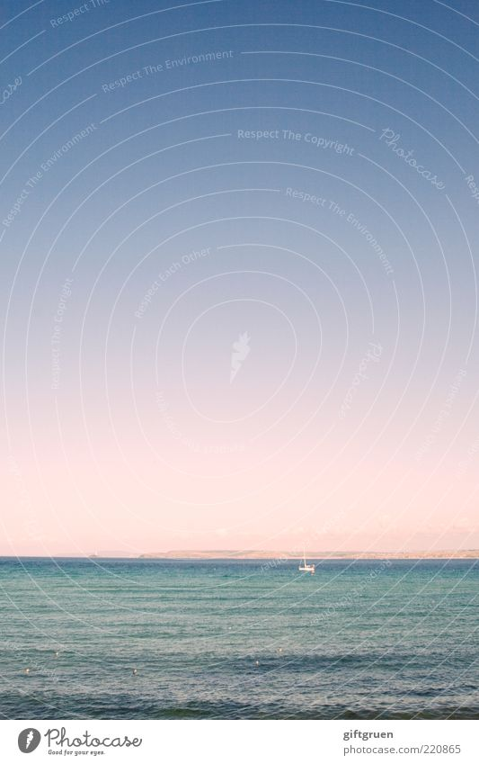 alone on the high seas Sailing Environment Nature Landscape Elements Water Sky Cloudless sky Horizon Sunrise Sunset Summer Weather Beautiful weather Waves Ocean